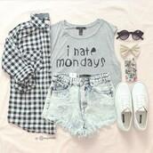 shirt,tank top,blouse,t-shirt,shorts,skirt,grey t-shirt,cotton,ihatemondays