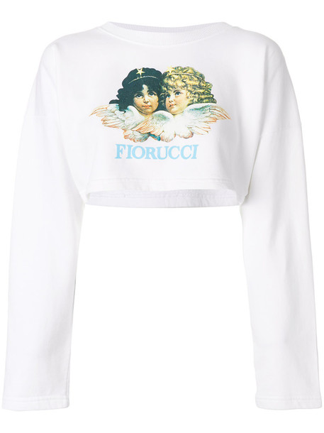 FIORUCCI sweatshirt cropped women white cotton sweater
