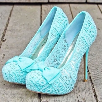 shoes high heels ribbon pumps mint