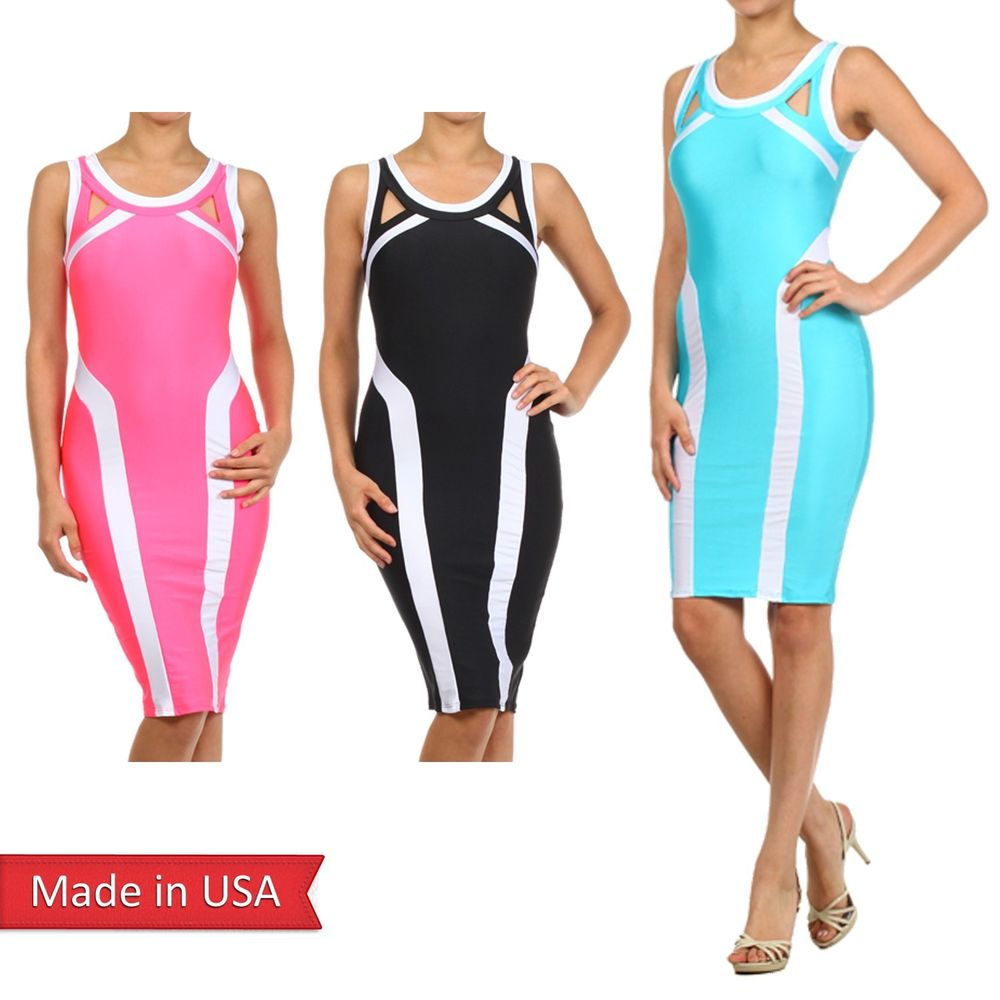 Colorblock black aqua coral sleeveless cut out detail stripe bodycon dress usa