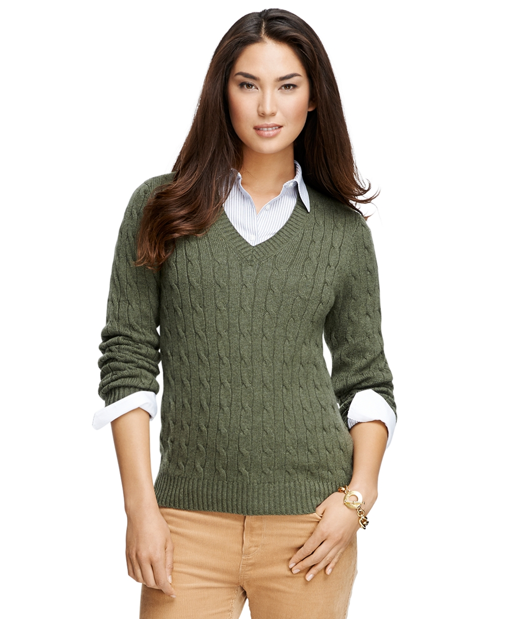 Cashmere Cable Knit V-Neck Sweater | Brooks Brothers