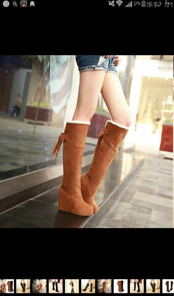 wedges winter boots boots cute high heels casual