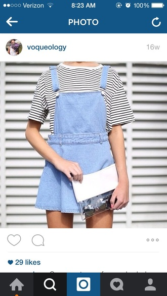 dress stripes tumblr denim overalls mirrored sunglasses style