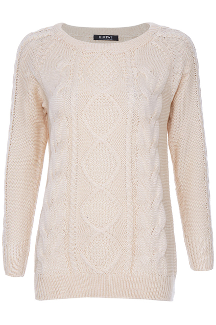 ROMWE | Rhombus Cable Knit Cream Jumper, The Latest Street Fashion