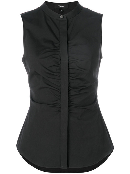 theory blouse sleeveless women spandex cotton black top