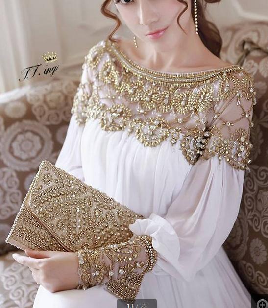 Shining rhinestone rivet elegant long dress