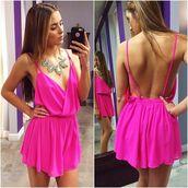 romper,pink,open back,jewels,dress,pink dress,open back dresses,wrap dress