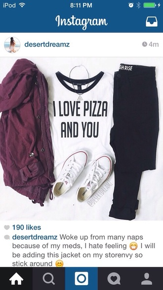top white t-shirt white top fashion clothes crop tops pizza shirt quote on it funny quote shirt love quotes