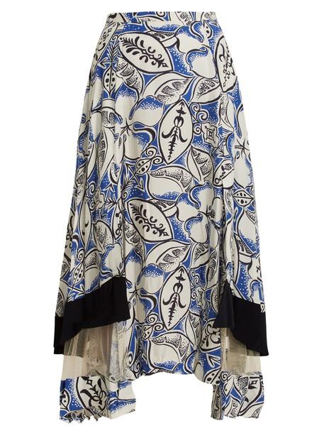 Toga skirt midi skirt midi floral print white blue
