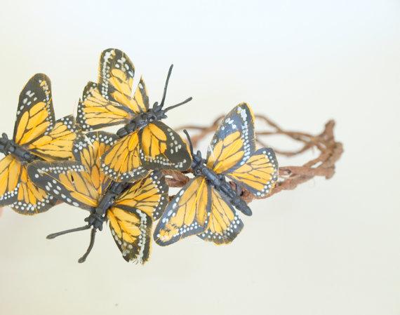 Monarch beauty butterfly crown bridal head piece by foxinebemine