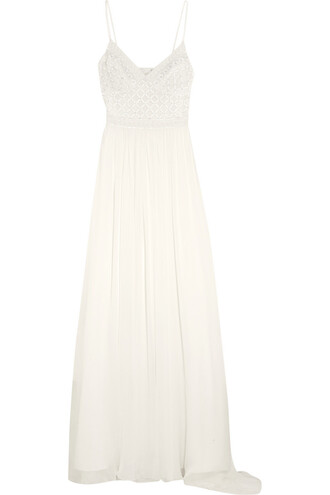 gown chiffon embellished silk dress