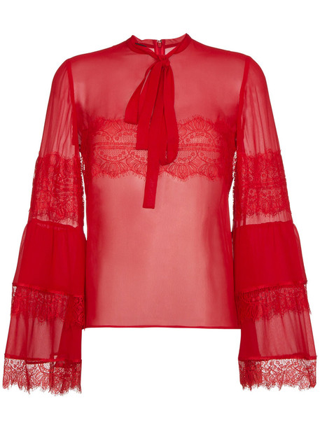 GIAMBATTISTA VALLI blouse women lace silk red top