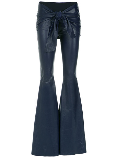 women spandex leather blue pants