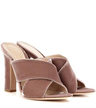 sandals velvet sandals velvet pink shoes