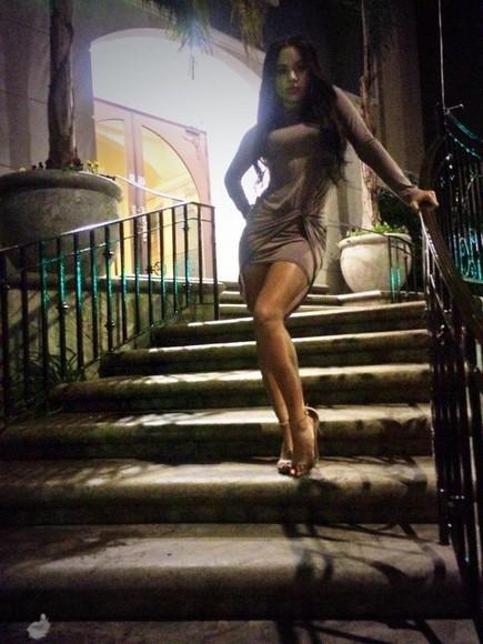 long sleeve dress dress blush pink drape bodycon dress trendy
