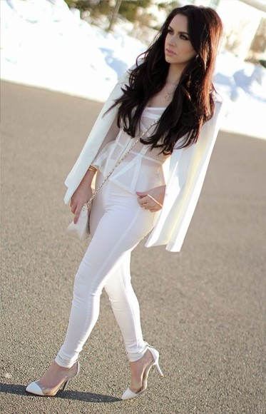 pants shirt white pants white lace top white jacket
