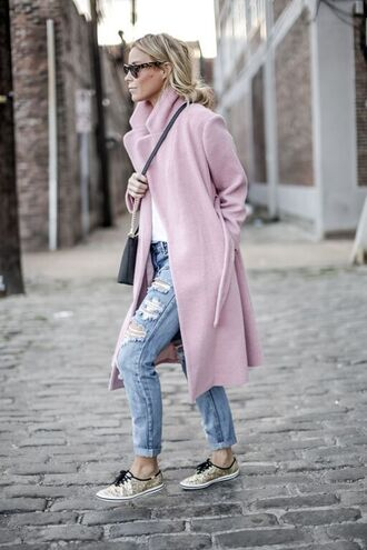 happily grey blogger pink coat ripped jeans gold shoes jeans