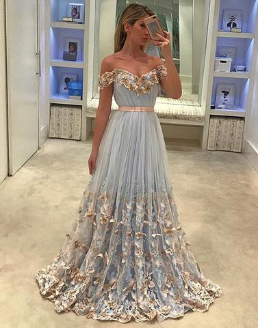 unique tulle light blue long prom dress, tulle evening dress - 24prom