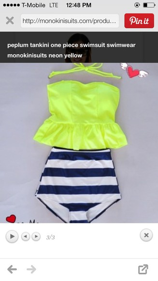 swimwear frills high waisted bikini neon tankini modest cute High waisted shorts