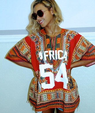beyonce beyonce fashion african print red top africa round sunglasses denim shorts long sleeves shirt dress beyonce dress