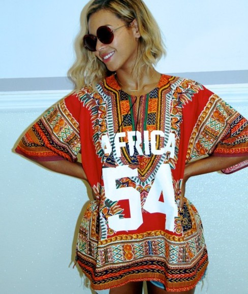 beyoncé dress africa beautiful onpoint iwantit shirt beyoncé fashion style clothes top lipstick colorful riri sunglasses sexy h&m t-shirt red african queenb jayonce coat sweater pullover africa 54 blouse african print patterened beyoncé t-shirt