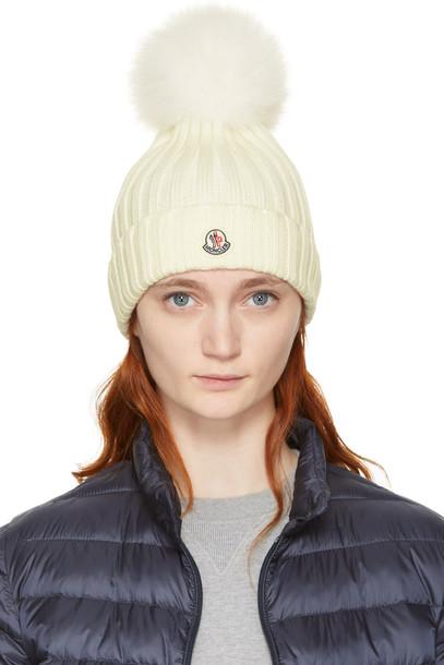 moncler beanie pom pom beanie white off-white hat