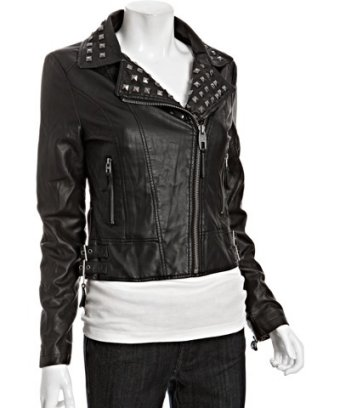 Miss sixty black faux leather studded zip moto jacket at bluefly