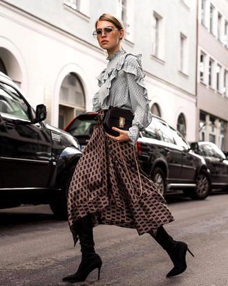 shirt polka dots tumblr skirt midi skirt asymmetrical asymmetrical skirt boots black boots bag fall outfits ruffle ruffle shirt sunglasses