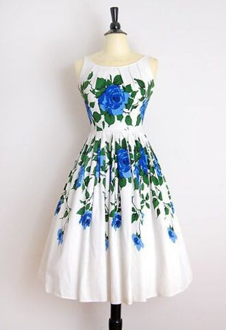 dress rose summer dress spring outfits blue roses