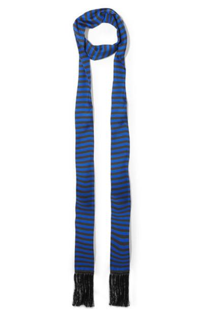 Haider Ackermann - Fringed Striped Silk-twill Scarf - Navy