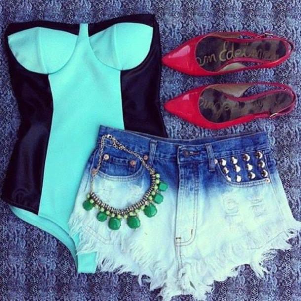 shorts bodysuit shorts #dipdye #studs #cute #want swimwear