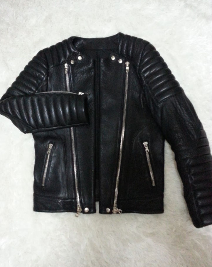 Italian Smooth Lamb Skin Leather Biker Jacket with Balmain Logo Pack Brand New | eBay