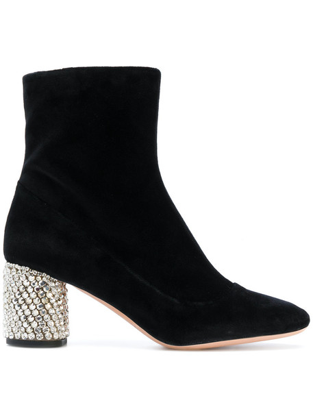 Rochas heel women embellished ankle boots leather cotton black shoes