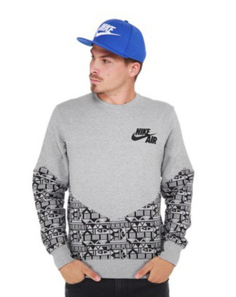 sweater aztec gray print nike sweater crewneck
