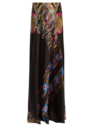 skirt floral print silk satin black