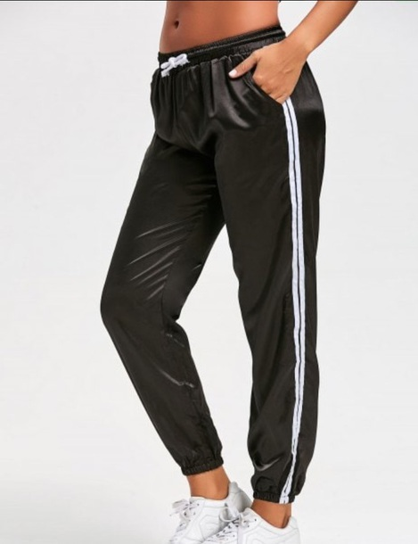 pants girly black joggers joggers pants track pants satin white stripes