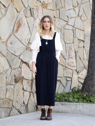 dress blouse blogger b. jones style overalls necklace ruffle gothic lolita