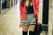 red jacket,jacket,shorts,pink,black,clothes,denim jacket,top,cross necklace,coat,shorts + pink blazer,tumblr,tumblr outfit,button up,socks,tank top,jewels