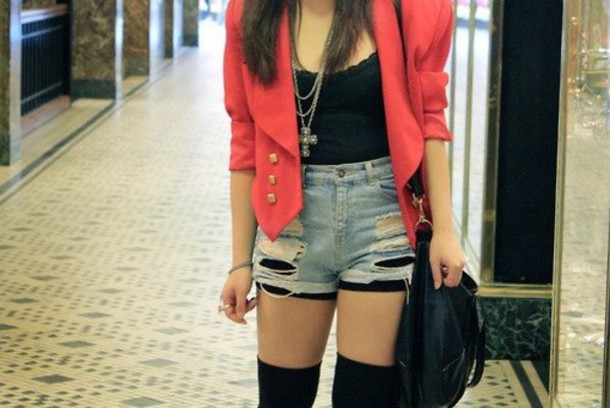 red jacket jacket shorts pink black clothes denim jacket top cross necklace coat shorts + pink blazer tumblr tumblr outfit button up socks tank top jewels