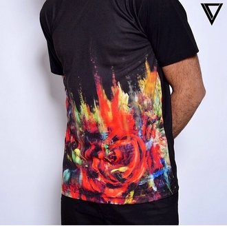 shirt t-shirt style fashion designers designer black red roses menswear mens t-shirt