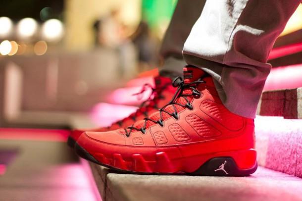 Mens Air Jordan Retro 9 Black White Red shoes