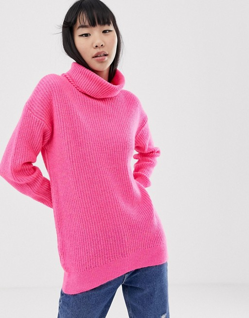New Look roll neck jumper in pink neon at asos.com