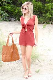 kim tuttle,the knotted chain - a style blog by kim tuttle,blogger,romper,shoes,bag,sunglasses,red romper,brown bag,handbag,aviator sunglasses,summer outfits,necklace,gold sandals,sandals,flat sandals