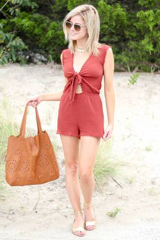 kim tuttle the knotted chain - a style blog by kim tuttle blogger romper shoes bag sunglasses red romper brown bag handbag aviator sunglasses summer outfits necklace gold sandals sandals flat sandals