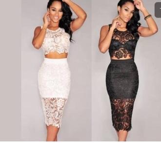 dress white black two-piece co-ordinates lace dress