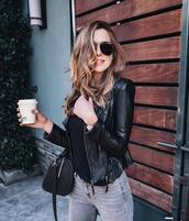 jacket,tumblr,black jacket,black leather jacket,leather jacket,jeans,grey jeans,bag,black bag,sweater,black sweater,sunglasses,aviator sunglasses
