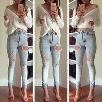 jeans skinny skinny jeans holes shirt top