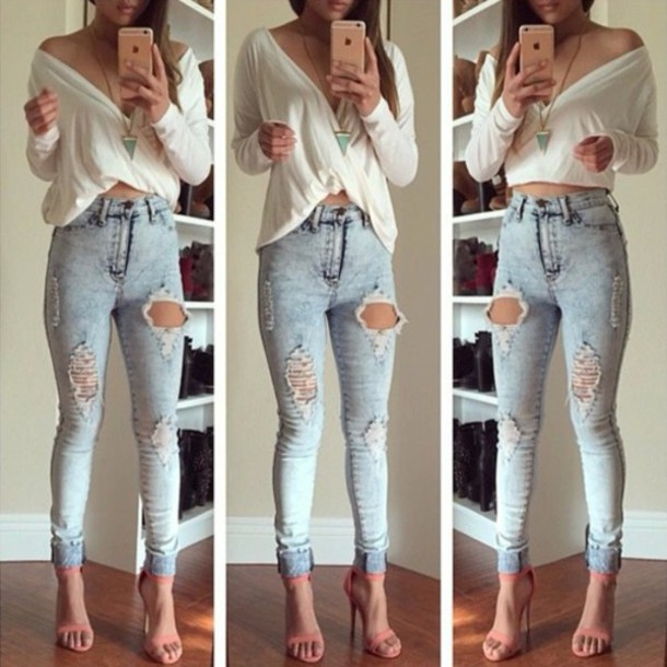 Collection Skinny Jeans With Holes Pictures - Reikian