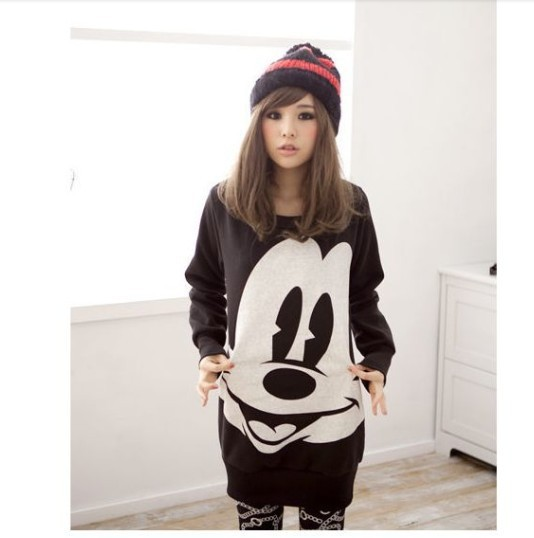 Hot 2013 free shipping mickey mouse sweater  3 color large size loose sleeve crewneck sweater