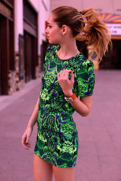 Dress Tropical Jungle Green